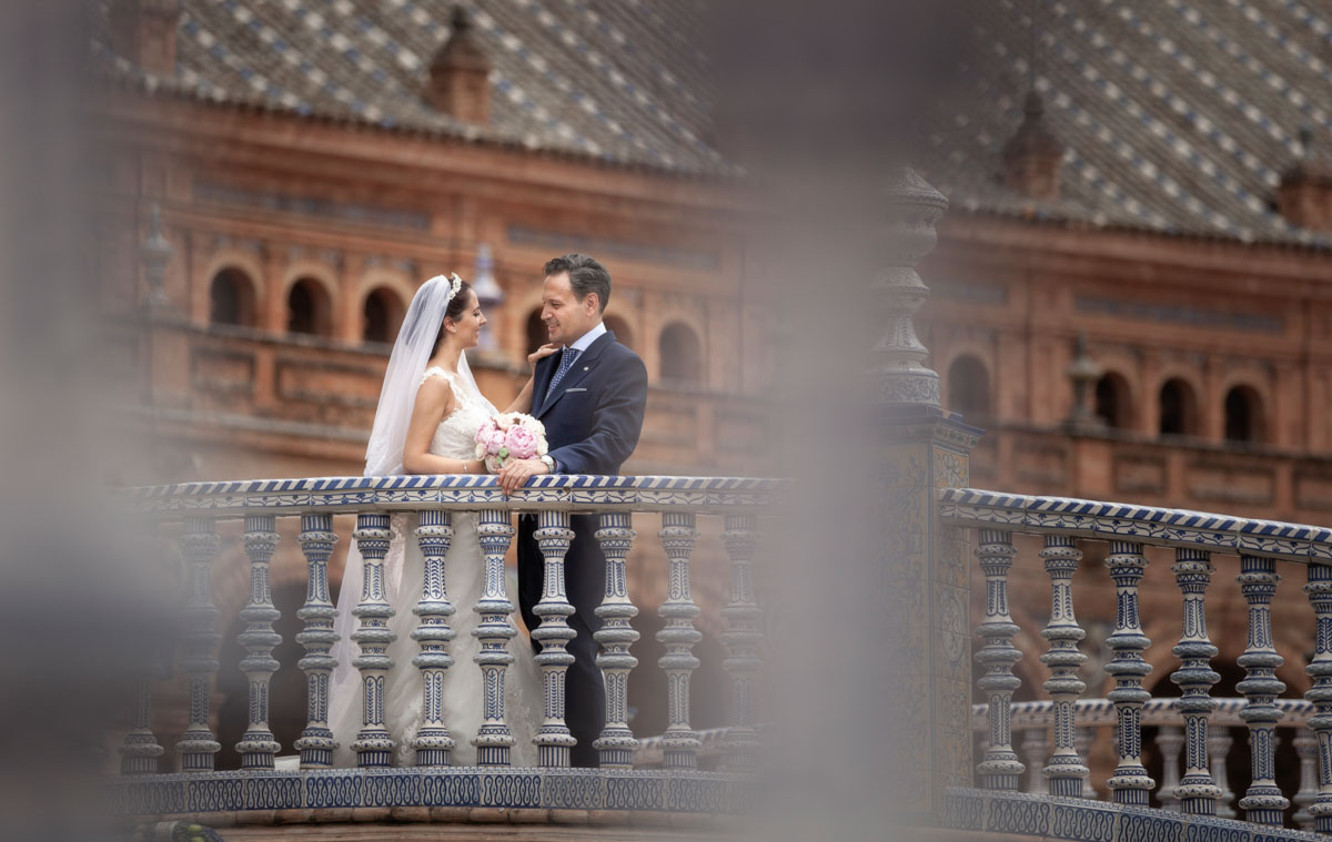fotos de boda en Plaza de España Sevilla por Alejandro Gonzalo fotógrafo.