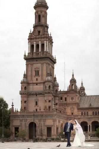 reportaje de boda en plaza de españa Sevilla