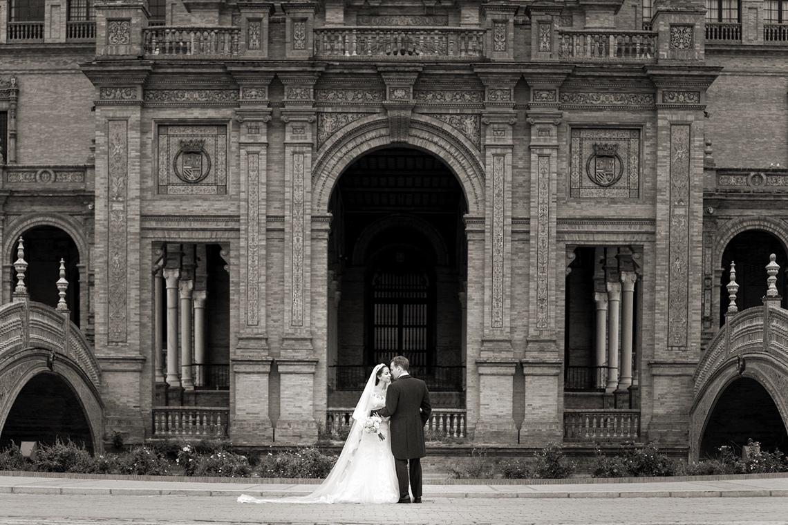 fotos boda Sevilla. plaza españa
