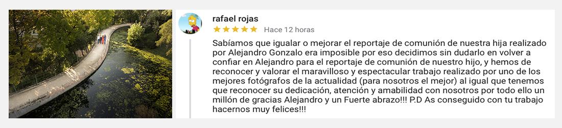 opiniones de Alejandro Gonzalo fotografo